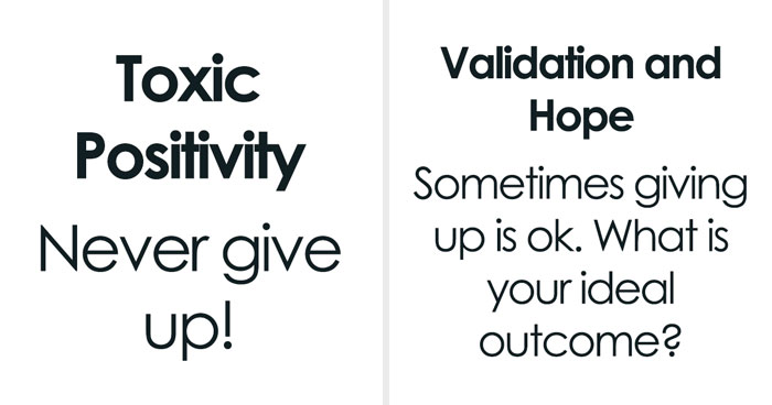 Therapist Explains The Important Difference Between Support And 'Toxic Positivity' In One Simple Chart