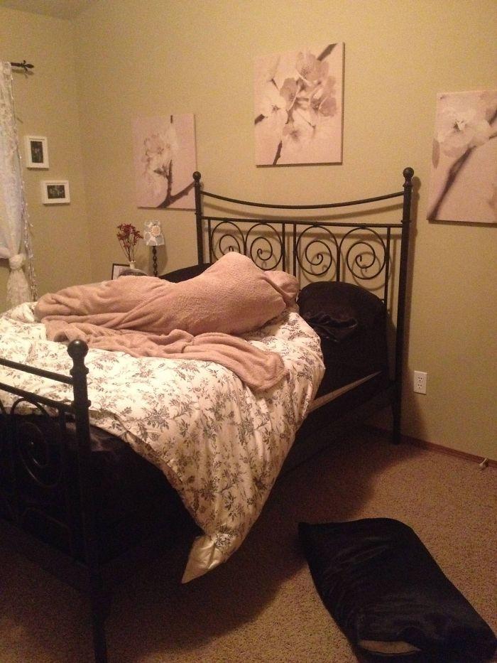 Entré en mi cuarto y vi mis almohadas y manta enredadas así, casi me da un infarto