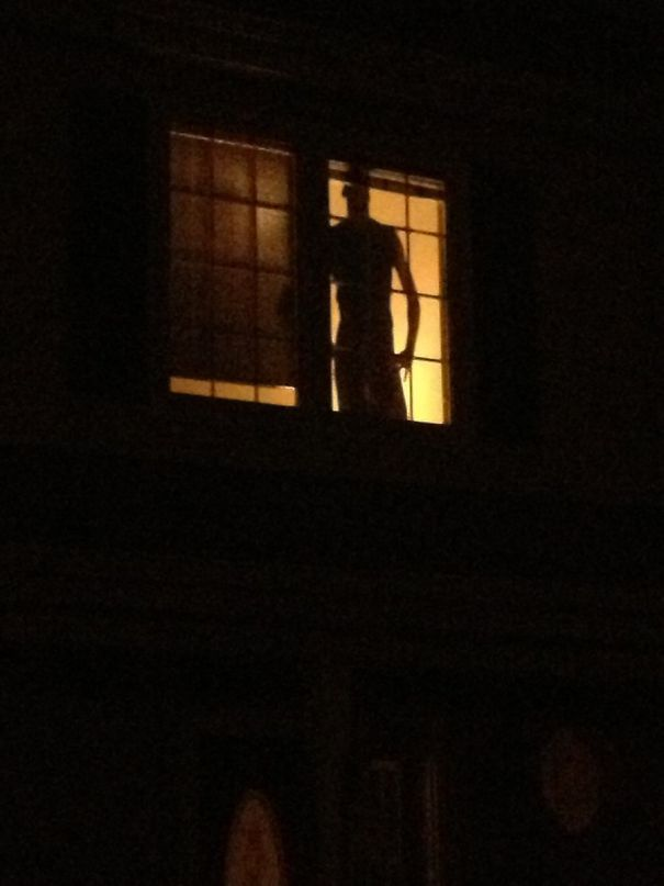 Every Time I Come Home Late My Neighbor's Burglar-Proofing Cardboard Cutout Gives Me A Minor Heart Attack
