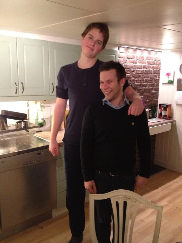 So This Is Me (18, 6'7) Next To My Pal In Their House. I Hate Their House