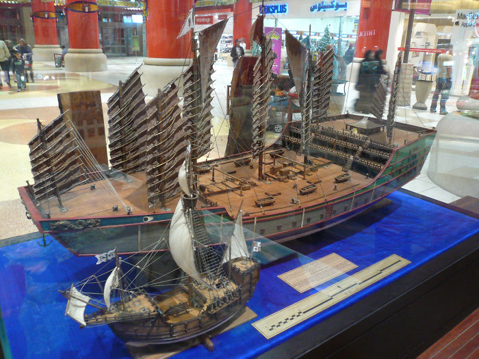 Chinese Explorer Zheng He's Ship Compared To Christopher Columbus' Santa Maria. They Both Lived In The Same Era
