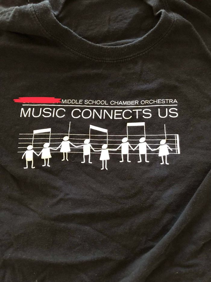 Orchestra Teacher's Shirt Design For Students Looks As If People Are Being Hanged Together