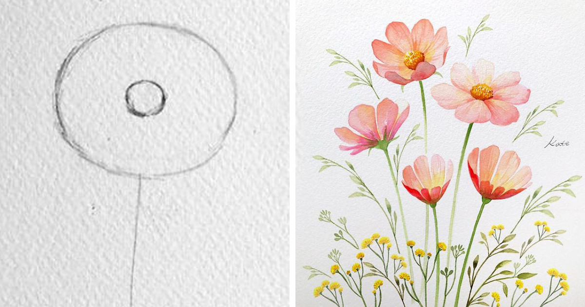 Korean Artist Uploads Step By Step Tutorials On How To Draw Beautiful Flowers Bored Panda