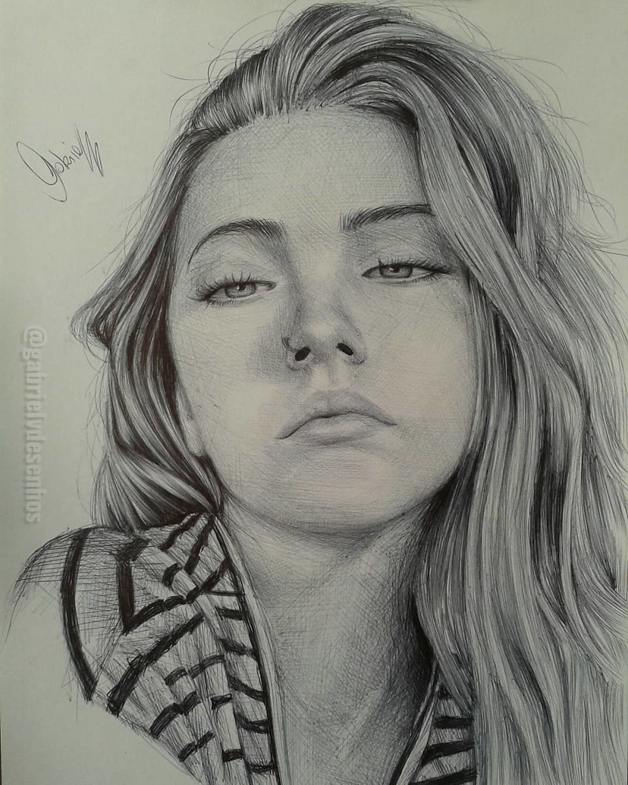 Artist Uses As A Tool Only A Ballpoint Pen To Capture The Emotions Of The People And The Result Is Amazing