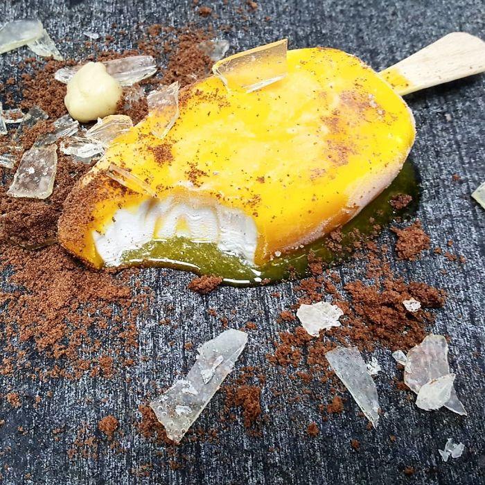 Tropical Fruits Ice Cream, Chocolate Soil, Sugar Glass