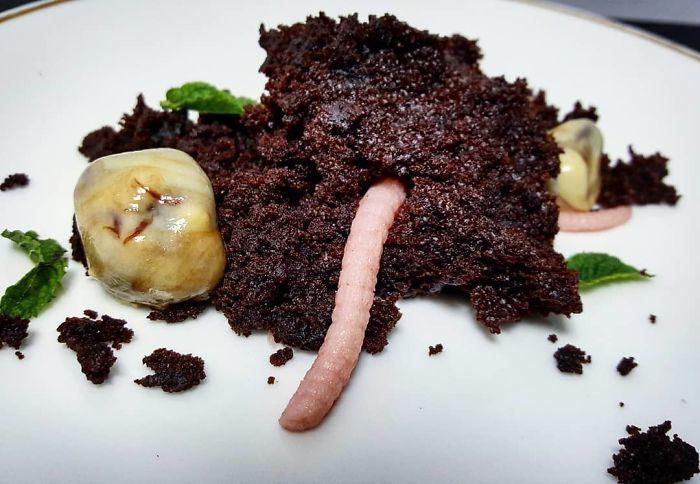 Moist Chocolate Cake, Strawberry Jelly, Chocolate Ganache, Mint