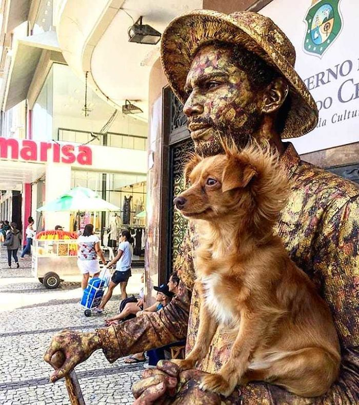 Little Dog Copies Her Bronze Owner In A Bronze Living Statue Performance And It Goes Viral