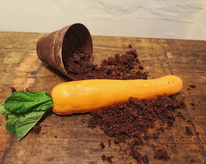 Carrot Cake Shaped Like A Carrot, Chocolate Plantpot Filled With Whipped Cream Cheese Icing, Chocolate Soil
