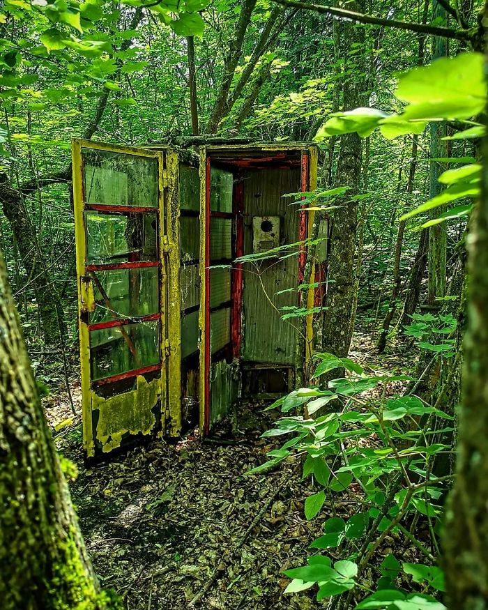 An Old Phone Box Hidden Away In The Undergrowth In Pripyat. Unused Since 1986