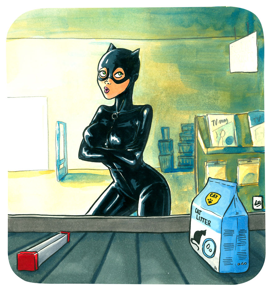 Catwoman And Cat Litter