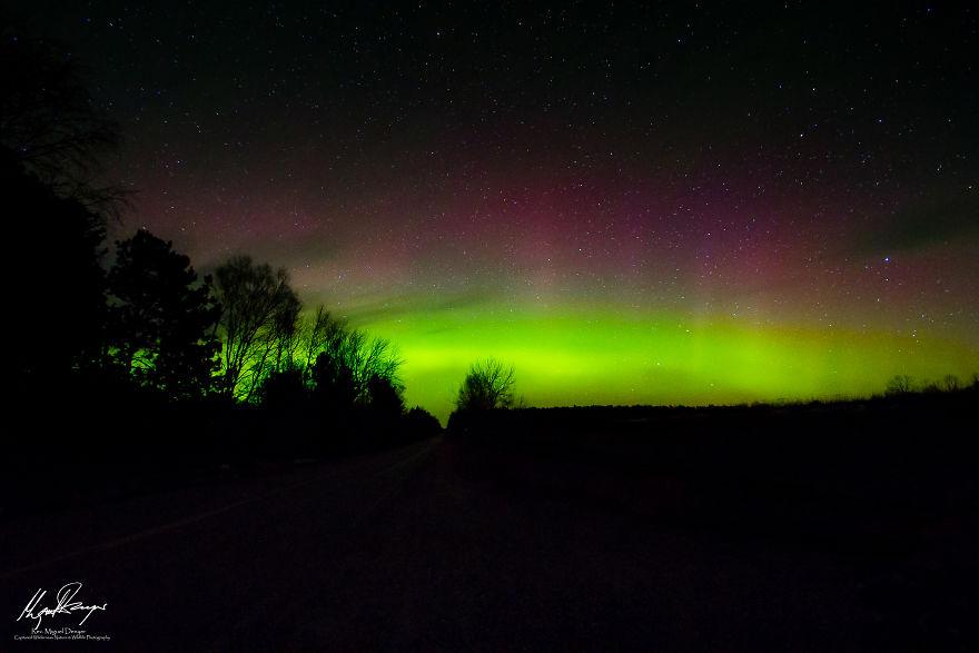 Aurora Borealis Over Northport, Michigan