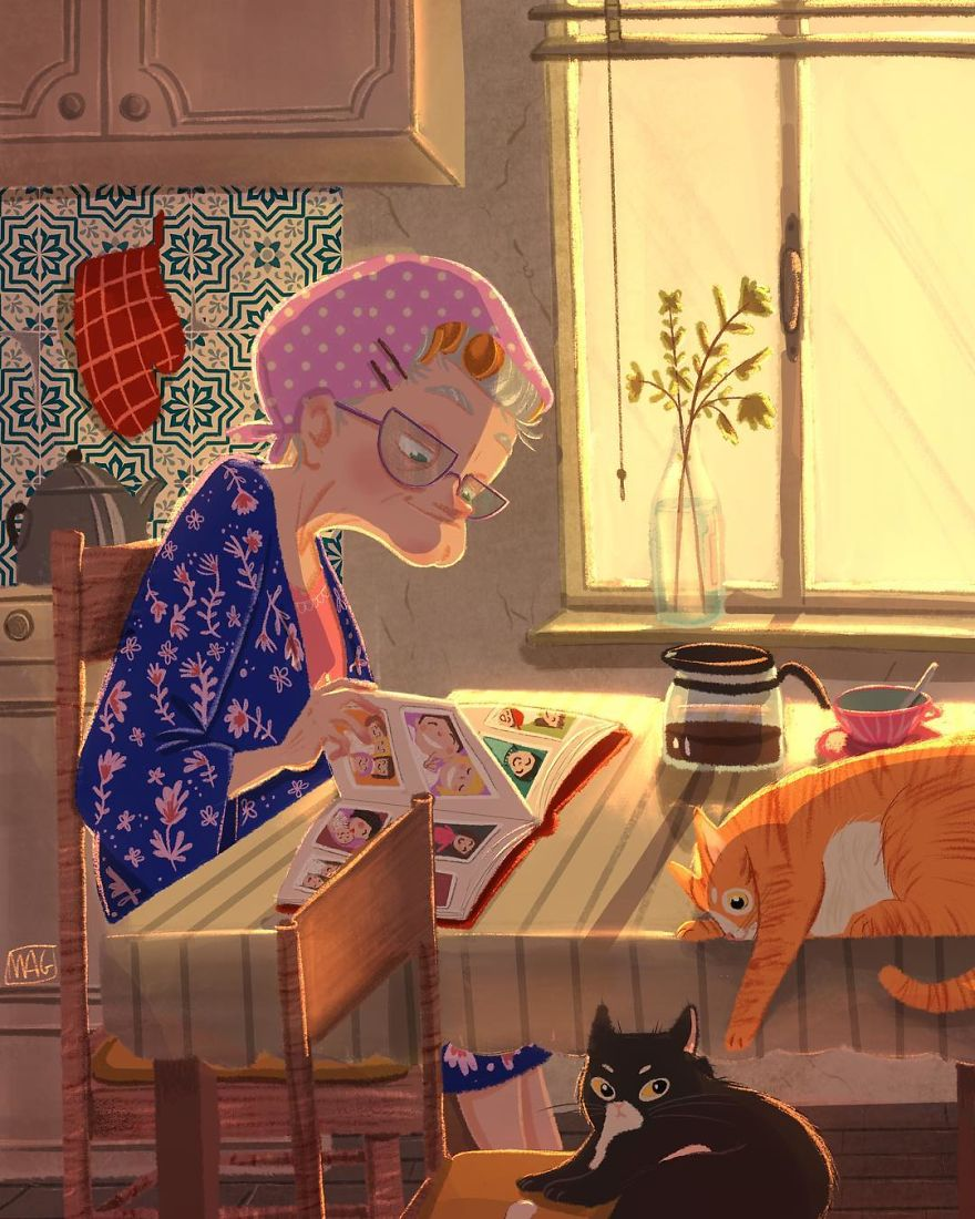 Italian Illustrator Shows In Sweet Illustrations That Even Cats Being Independent, They Can Be His Best Friends