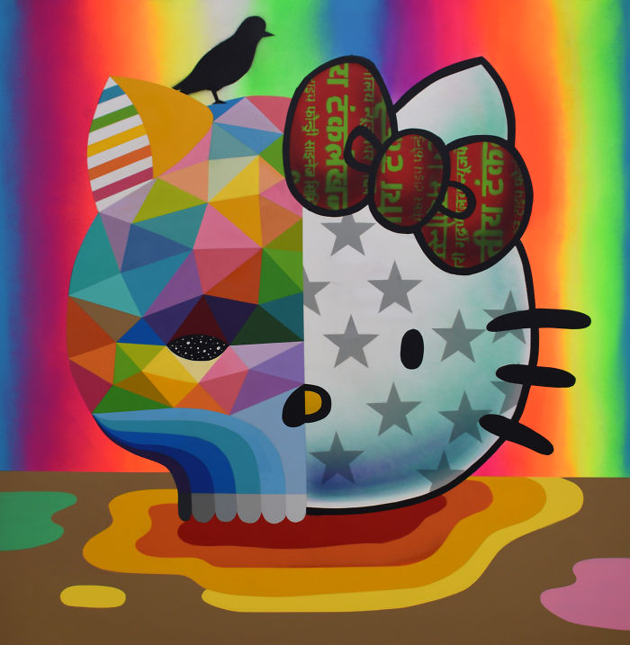 """Hello Kitty Skull"" (Synthetic Enamel On Wood) By Okuda San Miguel"