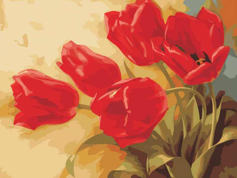 Red Tulips Paint By Numbers