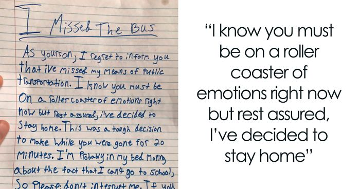 After Missing His School Bus, Boy Writes A Hilarious Letter To His Mom Listing Pros And Cons Of Skipping School