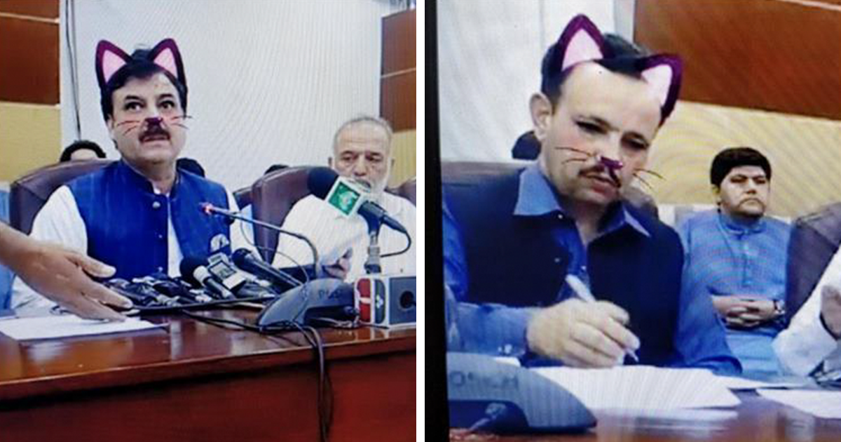 Pakistani Government Officials Accidentally Turn On Cat Filter During Facebook Live, Hilarity Ensues