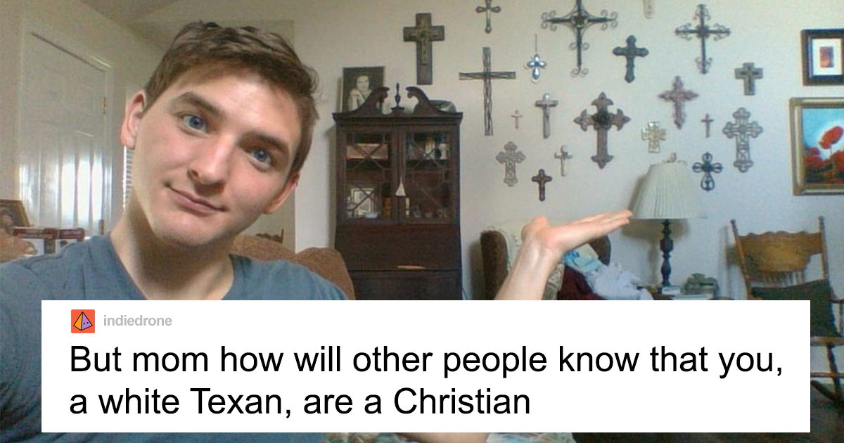 Son Posts How To Spot A Christian Texan Mom By Pointing At Her Wall Of Crucifixes, Gets Response With Ridiculo