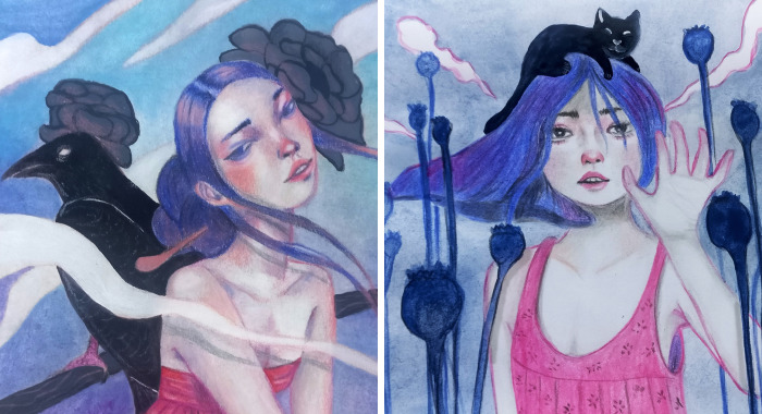 Blue-Haired Girls: My Series Of Paintings Of Female Travelers And Their Companions