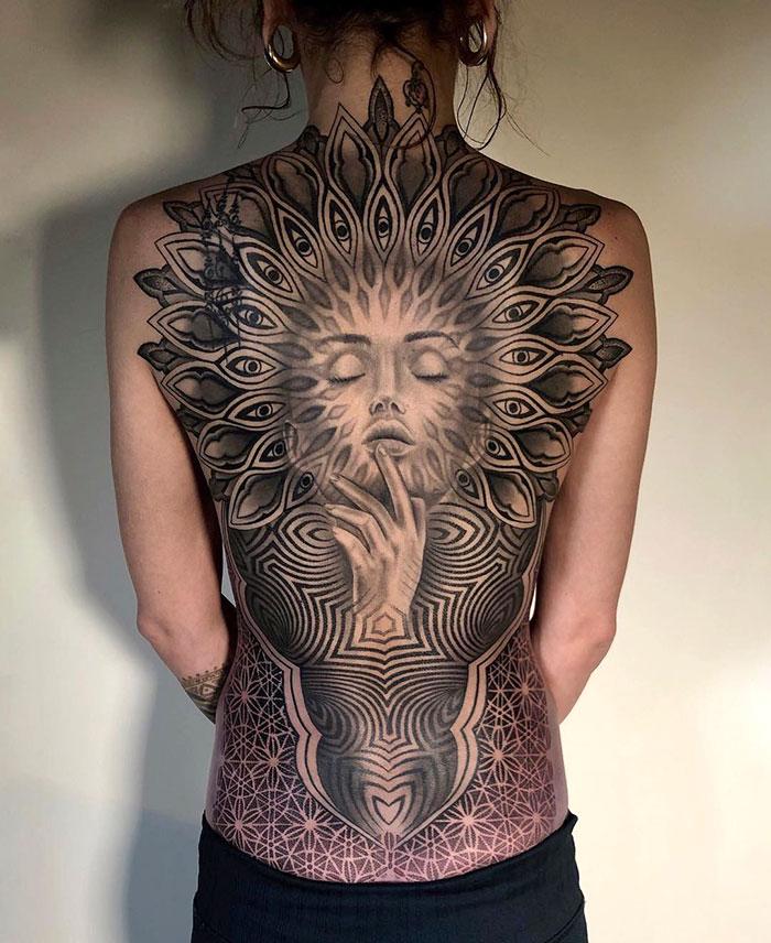 Patterned Full Back Tattoo
