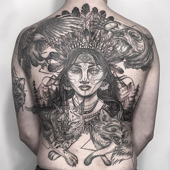 Indian Tattoo In Progress