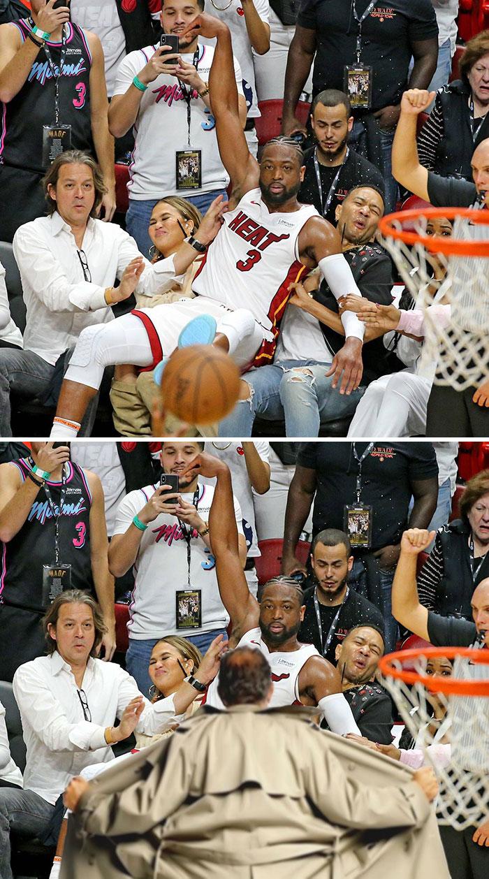 Dwayne Wade Falling Into Chrissy Teigen And John Legend