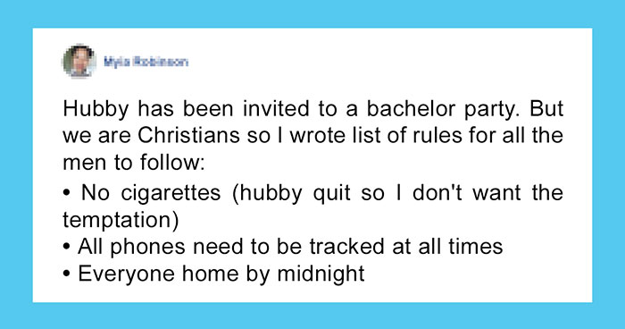 Overprotective Woman's List Of Rules Before Allowing Husband To Go To A Bachelor Party Goes Viral