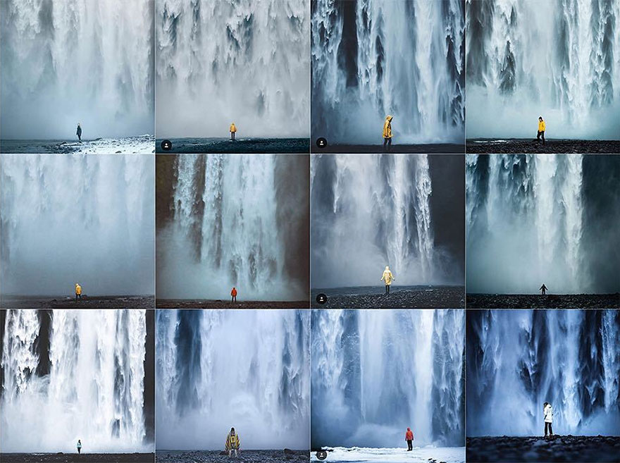 Person Centered Against Full Frame Waterfall