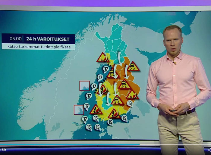 Meanwhile In Finland, Warnings Of Icy Roads, Forest Fires, Grass Fires And High Winds