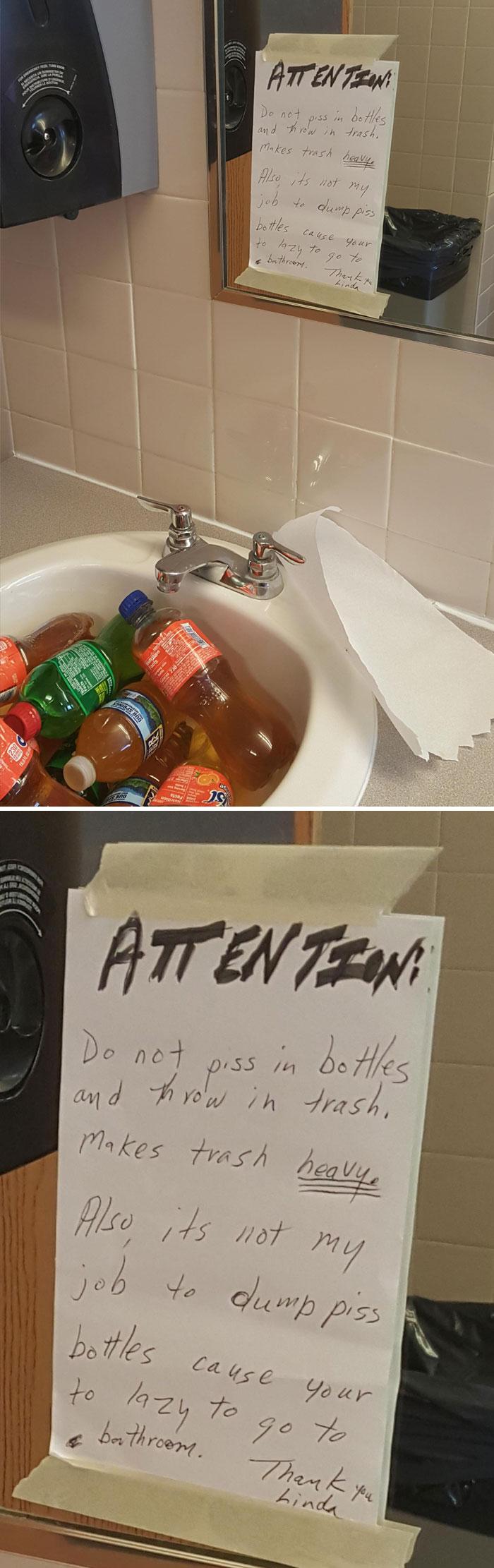 La residencia de estudiantes solo tiene una limpiadora, y aún así la gente es asquerosa. No la culpo por dejar la nota