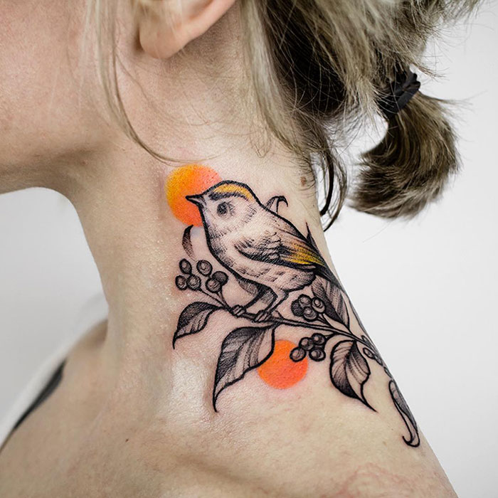 Little Bird Neck Tattoo