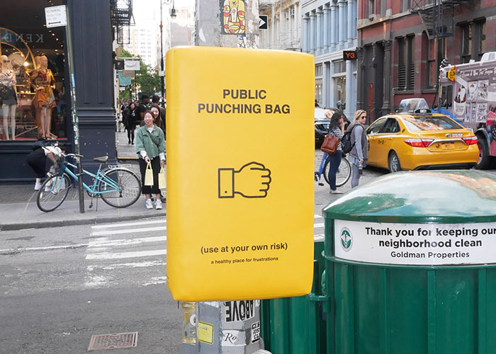 People In New York Can Now Let Their Anger Out By Punching These Bags That Were Set Up Around The City