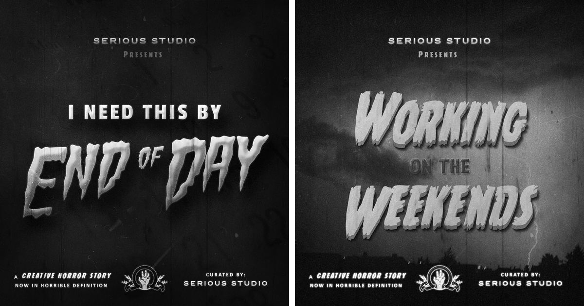 Brand Design Agency Illustrates Client Feedback As Classic Horror Movie Posters (9 Pics)