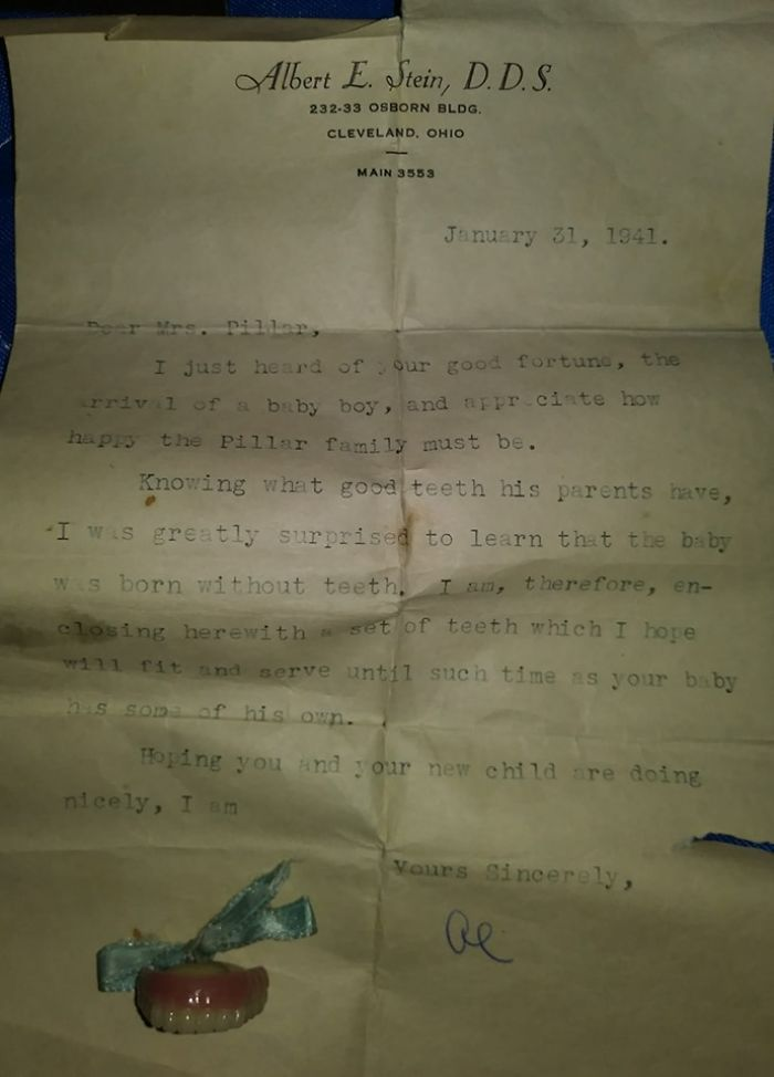 A Friend Gave This To Me. A Congratulation Letter 1941, From A Dentist To His Patient, On The Birth Of Her Son