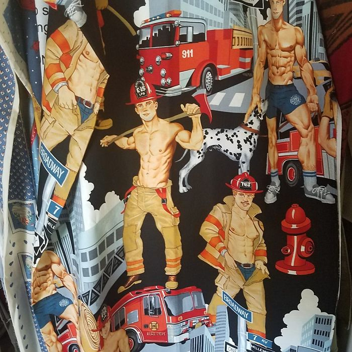I Need Ideas For What I Can Make For My Firefighter Husband With This Lovely Bit Of Fabric I Found At A Small Town Thrift Store