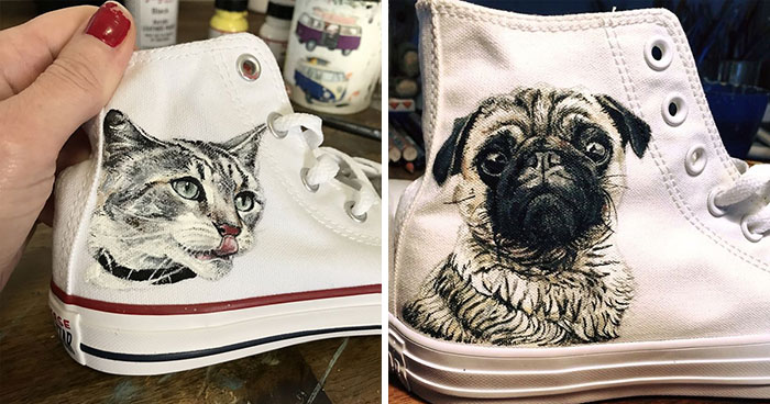 Here Are 13 Unique Gifts That I Created For Pet Owners By Painting Portraits Of Their Pets On Shoes