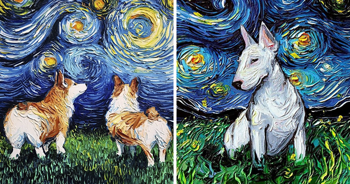 """Artist Whose Painting Got Mistaken For A Van Gogh Creates Adorable """"Starry Night"""" Dog Series (30 Pics)"""