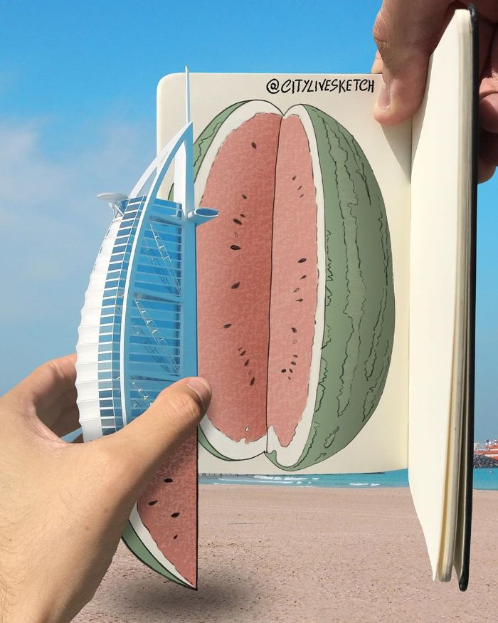 Drawings-Cartoons-Merged-With-Reality-Citylivesketch-Pietro-Cataudella