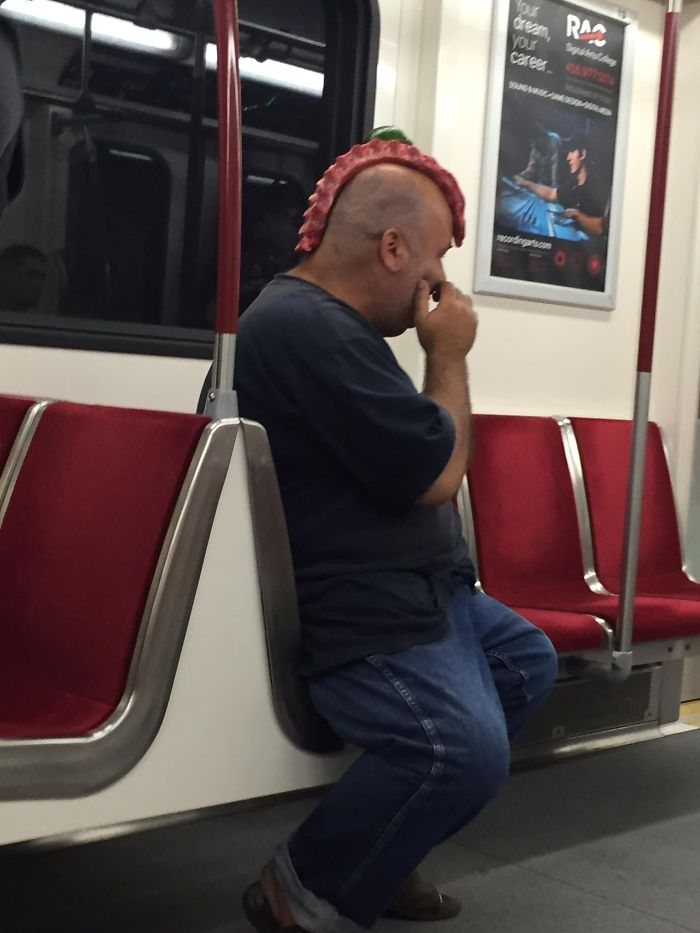 Friend Saw This Guy With Ribs On His Head In The Subway (Toronto)