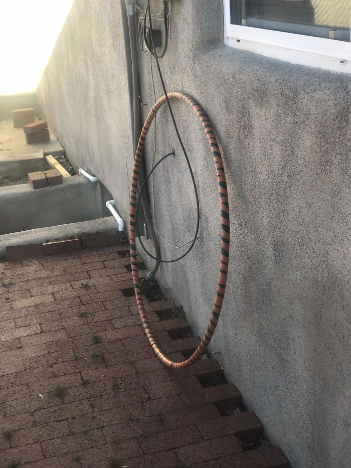 The Cable Guy Installed The Cable Through Our Hula Hoop That We Left Out