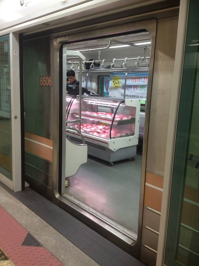 Taking The Underground Subway In Seoul. I Stumbled Upon A Train That Had Been Converted Into A Grocery Store