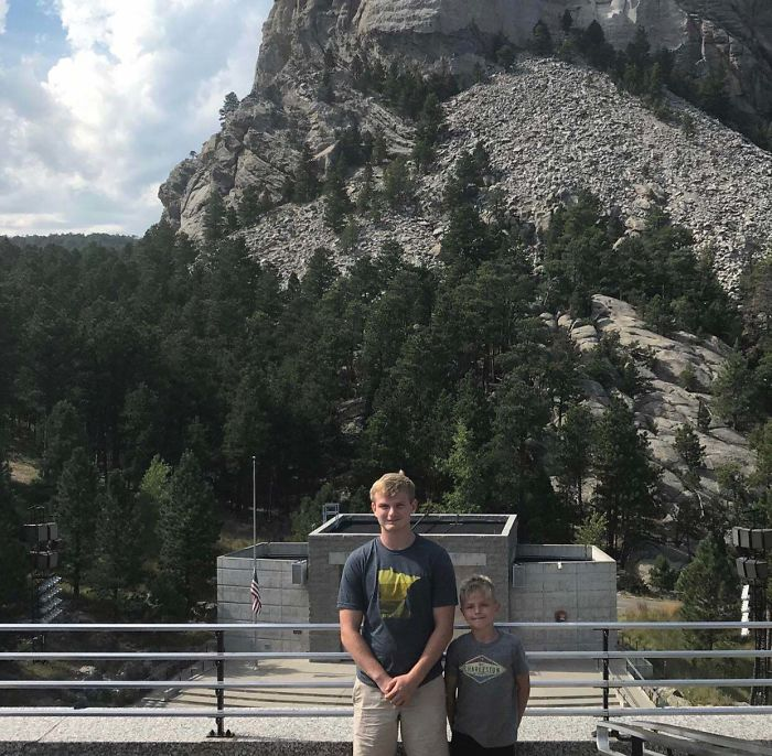After Our 9 Hour Car Ride, This Is The Picture My Mom Took Of Us At Mt. Rushmore