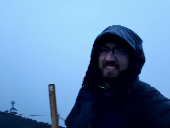 Climbed To The Top Of Mt Fuji To See Sunrise At 04.30, But It Was Foggy And Wet And Cold