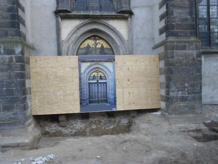 Traveled​ To Wittenberg, Germany In 2011. The Door Martin Luther Nailed The 95 Thesis To Was Being Restored
