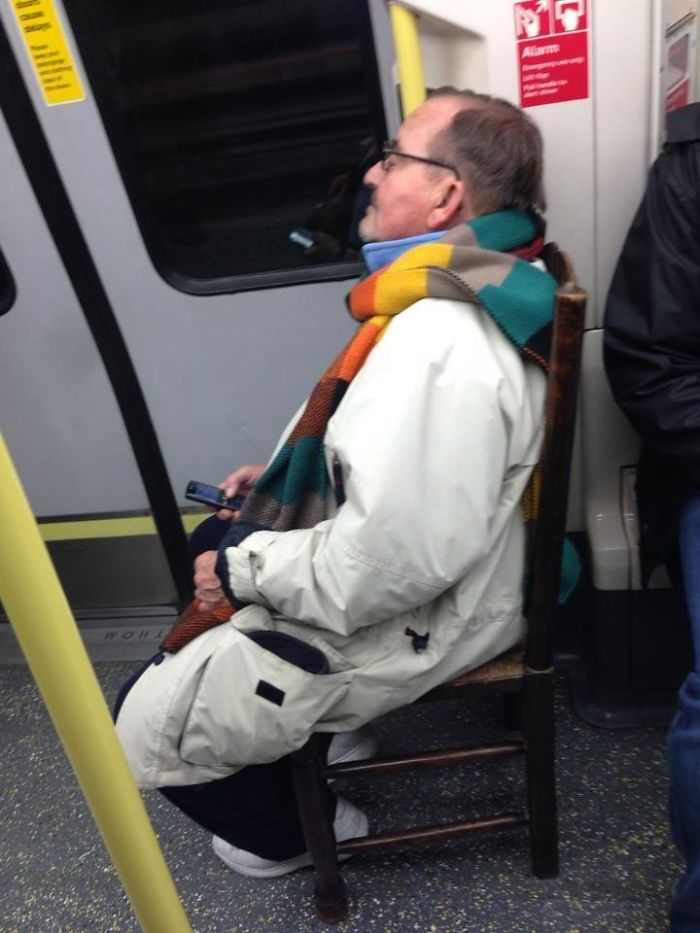 The Only Guy Guaranteed A Seat On The Tube At Rush Hour