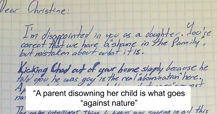 Mom Throws Out Her Gay Son After He Comes Out, Grandpa Disowns Her With Powerful Letter