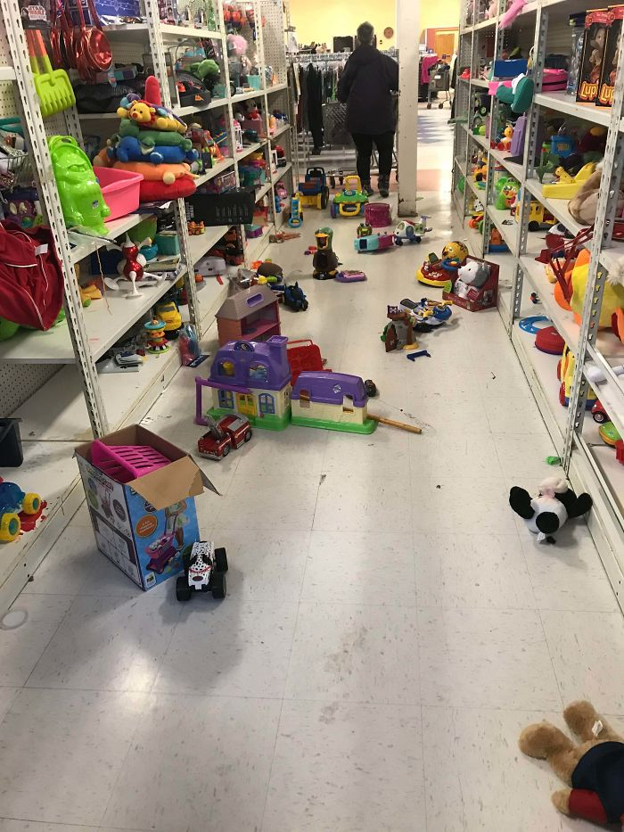 Parents Letting Their Kids Play With The Toys At Goodwill And Just Leaving It