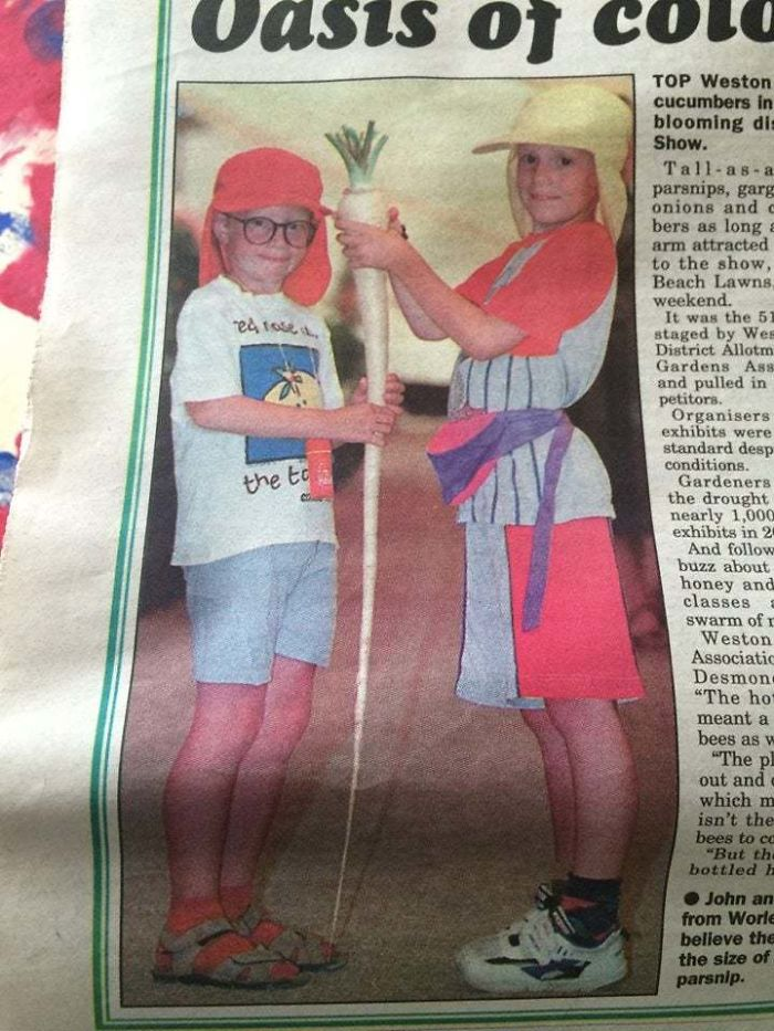 Me (Right), My Brother, Some Incredible Fashion Choices And A Massive Parsnip Made The Local Paper Back In The Mid 90s