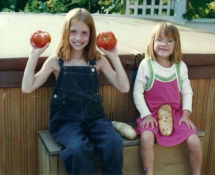 My And My Sister's Embarrassing Childhood Photo. I'm The Unfortunate Soul On The Right