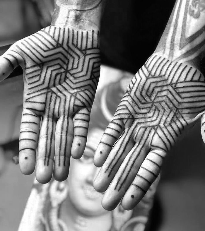 Intricate Palm Line Tattoo