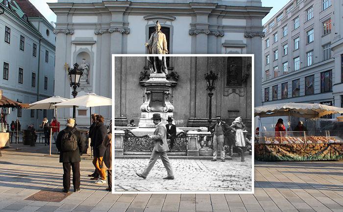 Street Scene On Mariahilfer Strasse 1900 vs. 2016